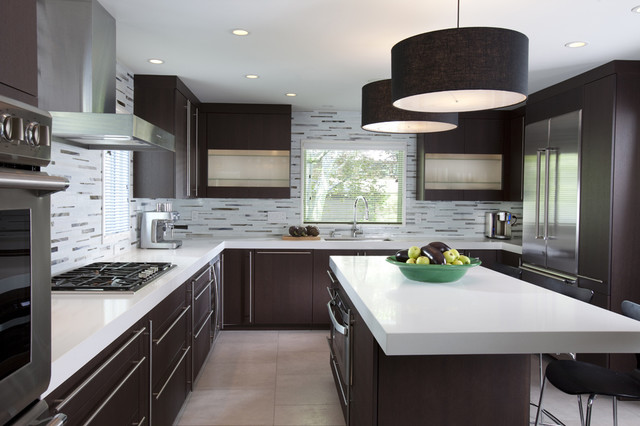 Modern Dark Wood Kitchen Cabinets