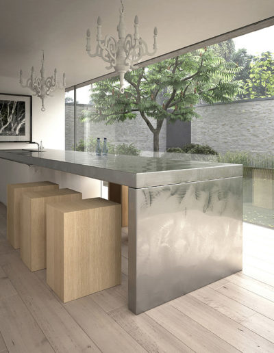 Modern steel kitchen island